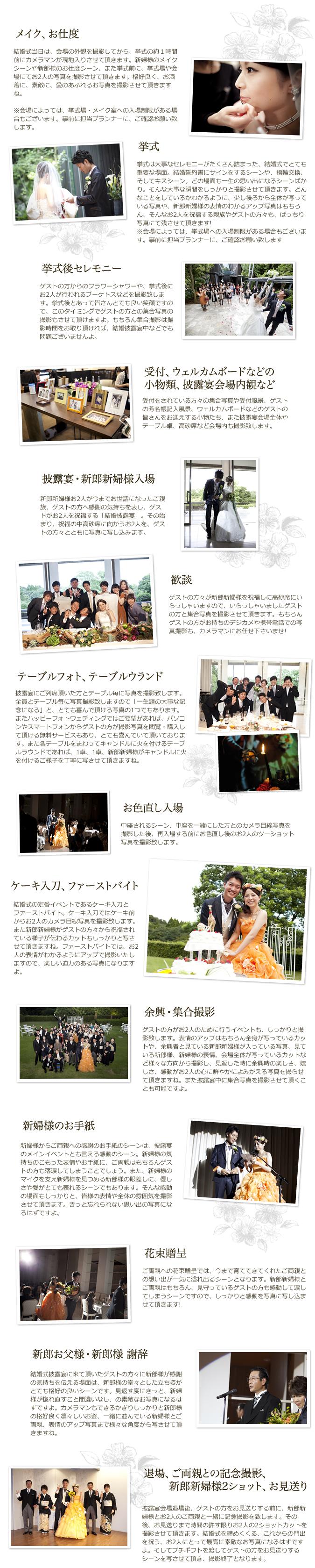 結婚式(挙式・披露宴)の写真撮影の流れ イメージ