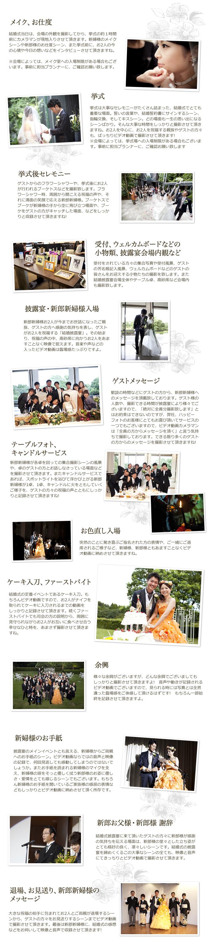 結婚式(挙式・披露宴)のビデオ動画撮影の流れ イメージ
